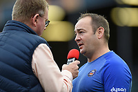 Bath Rugby first team coach Darren Edwards is interviewed prior to the match. European Rugby Champions Cup match, between Bath Rugby and Benetton Rugby on October 14, 2017 at the Recreation Ground in Bath, England. Photo by: Patrick Khachfe / Onside Images