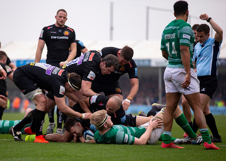 Exeter Chiefs' Nic White celebrates scoring his sides fourth try with team mates<br /> <br /> Photographer Bob Bradford/CameraSport<br /> <br /> Gallagher Premiership - Exeter Chiefs v Newcastle Falcons - Saturday 23rd February 2019 - Sandy Park - Exeter<br /> <br /> World Copyright © 2019 CameraSport. All rights reserved. 43 Linden Ave. Countesthorpe. Leicester. England. LE8 5PG - Tel: +44 (0) 116 277 4147 - admin@camerasport.com - www.camerasport.com