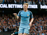 Kevin De Bruyne of Manchester City celebrates scoring the second goal during the English Premier League match at the Etihad Stadium, Manchester. Picture date: May 16th 2017. Pic credit should read: Simon Bellis/Sportimage