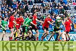 Fergal Griffin Glenbeigh Glencar in action against Eamon Ward Rock Saint Patricks in the Junior Football All Ireland Final in Croke Park on Sunday.