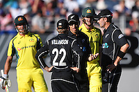 A meeting in the middle of the wicket between Kane Williamson, Ross Taylor and Tim Southee as Australian batsmen Marcus Stoinis and Josh Hazlewood look on. International One Day Cricket. New Zealand Black Caps v Australia. Chappell–Hadlee Trophy, Game 1. Eden Park Monday 30 January 2017 © Copyright photo: Andrew Cornaga / www.photosport.nz