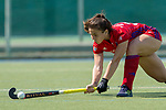 GER - Mannheim, Germany, May 05: During the women field hockey 1. Bundesliga match between Mannheimer HC (red) and Uhlenhorster HC Hamburg (light blue) on May 5, 2018 at Am Neckarkanal in Mannheim, Germany. Final score 1-3. (Photo by Dirk Markgraf / www.265-images.com) *** Local caption *** Alicia Magaz #29 of Mannheimer HC