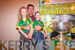 Kerry footballer Aidan O'Mahony with Erin and Leon O'Neill at the Top of Coom.