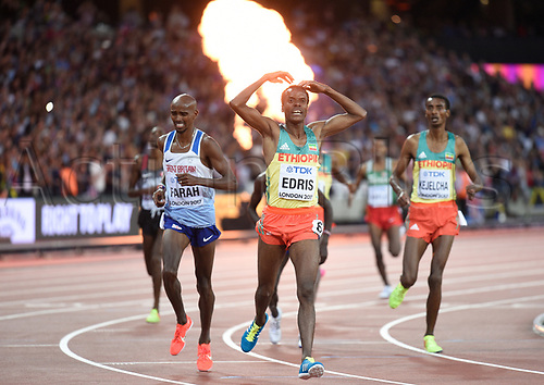 August 12th 2017, London Stadium, East London, England; IAAF World Championships, Day 9;  Ethiopian athlete Muktar Edris celebrating after his victory in the 5000m final at the IAAF World Championships in London, UK, 12August 2017.