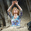 Happy Days <br /> by Samuel Beckett <br /> at The Young Vic, London, Great Britain <br /> press photocall <br /> 18th February 2015 <br /> <br /> Juliet Stevenson as Winnie<br /> <br /> <br /> <br /> Photograph by Elliott Franks <br /> Image licensed to Elliott Franks Photography Services