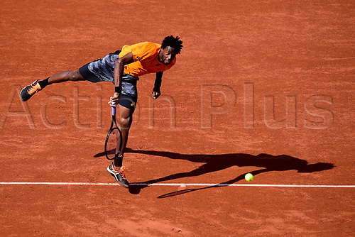 5th June 2017, Roland Garros, Paris, France; French Open tennis championships; Gael Monfils (FRA) in action at the French Open, Stade Roland Garros, Paris