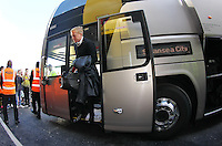 Garry Monk manager of Swansea arrives at today match   during the Barclays Premier League match Watford and Swansea   played at Vicarage Road Stadium , Watford