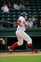 Catcher Jordan Procyshen (17) of the Greenville Drive bats in a game against the Asheville Tourists on Friday, April 24, 2015, at Fluor Field at the West End in Greenville, South Carolina. Greenville won, 5-2. (Tom Priddy/Four Seam Images)