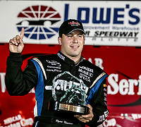 Ryan Newman, pole winner, UAW-GM Quality 500, Charlotte Motor Speedway, Charlotte, NC, October 11, 2003.  (Photo by Brian Cleary/bcpix.com)