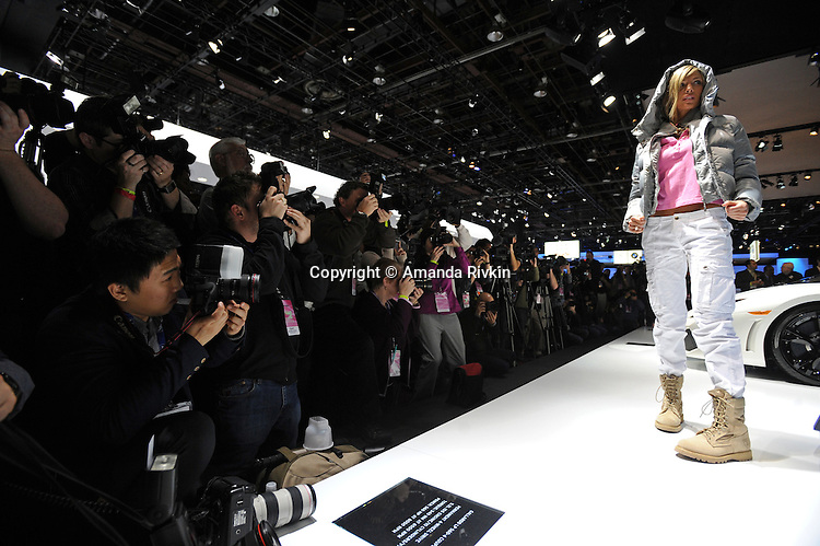 A fashion show at the Lamborghini showroom at the 2009 North American International Auto Show in Detroit, Mich. on January 12, 2009.
