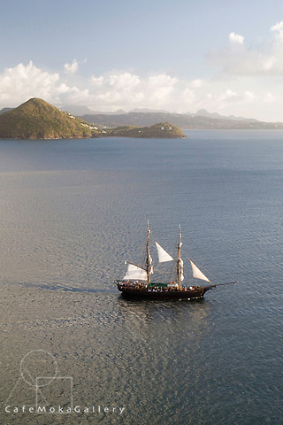 Evening light on the the 'Brig Unicorn' used as the 'Black Pearl' in the Pirates of the Caribbean movies, St Lucia