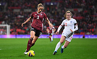 9th November 2019; Wembley Stadium, London, England; International Womens Football Friendly, England women versus Germany women; Kathrin Hendrich of Germany defends the ball under pressure from Lauren Hemp of England - Editorial Use