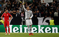 Calcio, Champions League: Gruppo D - Juventus vs Siviglia. Torino, Juventus Stadium, 30 settembre 2015.  <br /> Juventus&rsquo; Alvaro Morata celebrates with teammates after scoring during the Group D Champions League football match between Juventus and Sevilla at Turin's Juventus Stadium, 30 September 2015.<br /> UPDATE IMAGES PRESS/Isabella Bonotto