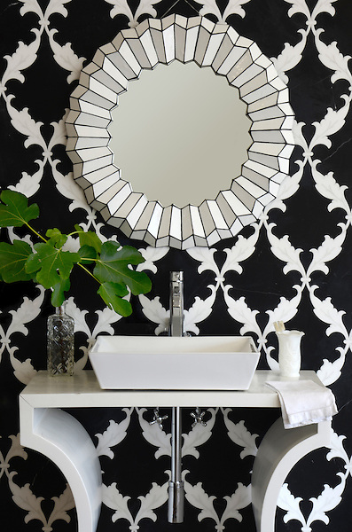Tamara, a natural stone waterjet mosaic shown in honed Nero Marquina and polished Thassos, is part of the Silk Road Collection by Sara Baldwin for New Ravenna Mosaics. Take the next step: prices, samples and design help, http://www.newravenna.com/showrooms/