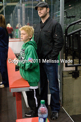 Minnesota Wild and former Michigan Wolverine forward attended the practice with his son Tyler. The University of Michigan Wolverines had the third 2011 Frozen Four practice time slot on the Xcel Energy Center ice on Wednesday, April 6, 2011, in St. Paul, Minnesota.