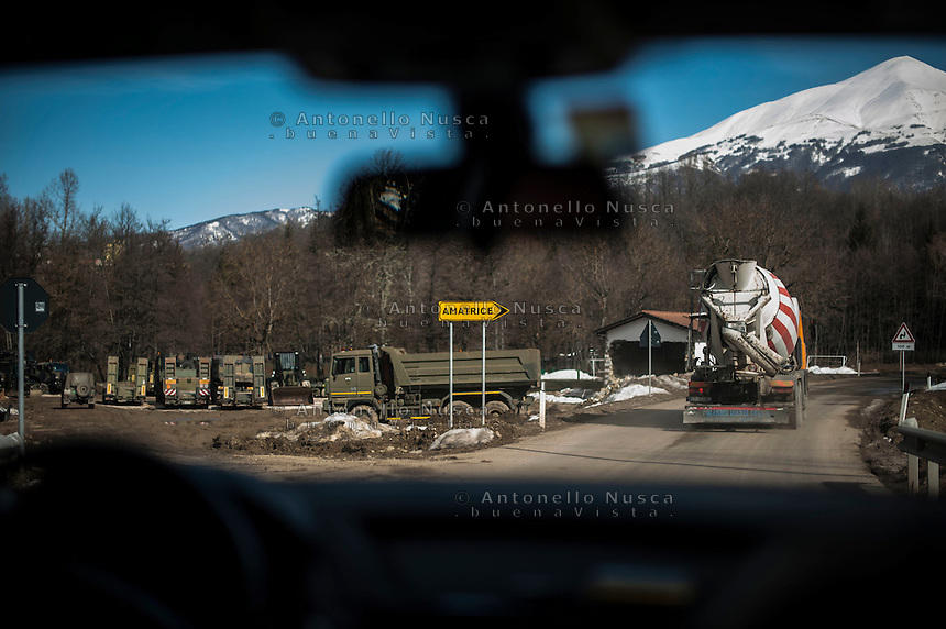 Amatrice, Italy, February 13, 2017.The road to Amatrice is still congested due to presence of trucks committed to rebuild the area. Six months after the earthquake, nothing has changed. The rubble is still there; nothing has been moved, recorded or stored. People are still living in provisional accommodation but the greatest loss, to many residents, is the loss of their former peaceful lives.