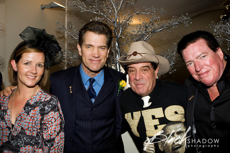 "Publicist Jennifer Fontaine, singer Chris Isaak, Australian music icon Ian ""Molly"" Meldrum and Kenny Dale Johnson (Chris Isaak's long time drummer) enjoying festivities at the 2008 Melbourne Cup."