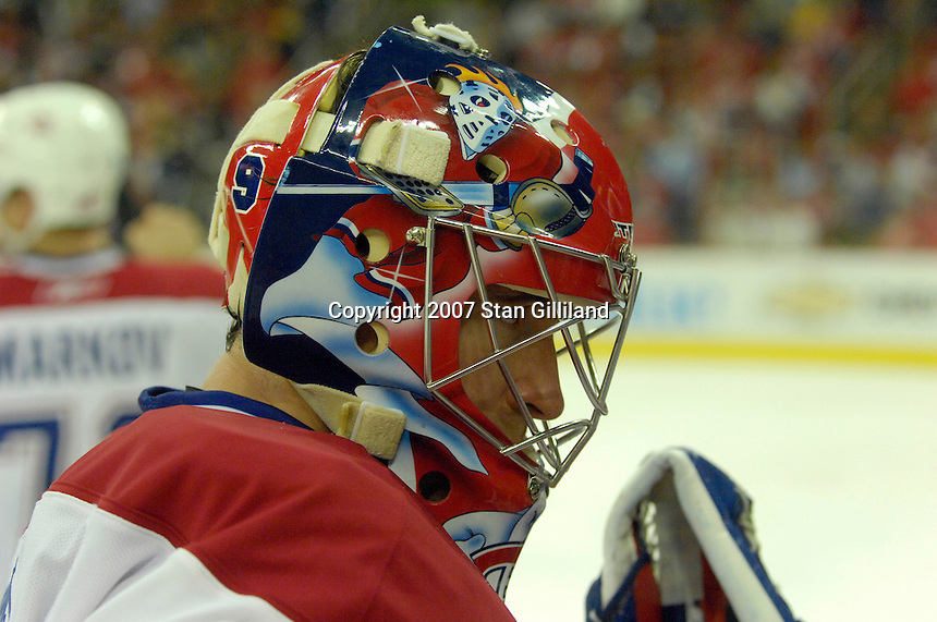 Montreal Canadiens' Cristobal Huet rests during a stoppage in play during their game with Carolina Friday, Oct. 26, 2007 in Raleigh, NC. The Canadiens won 7-4.