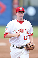 Boomer Collins #19 of the Vancouver Canadians during a game against the Hillsboro Hops at Nat Bailey Stadium on July 24, 2014 in Vancouver, British Columbia. Hillsboro defeated Vancouver, 7-3. (Larry Goren/Four Seam Images)
