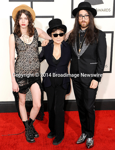 Pictured: Sean Lennon, Yoko Ono, Charlotte Kemp Muhl<br /> Mandatory Credit &copy; Adhemar Sburlati/Broadimage<br /> The Grammy Awards  2014 - Arrivals<br /> <br /> 1/26/14, Los Angeles, California, United States of America<br /> <br /> Broadimage Newswire<br /> Los Angeles 1+  (310) 301-1027<br /> New York      1+  (646) 827-9134<br /> sales@broadimage.com<br /> http://www.broadimage.com