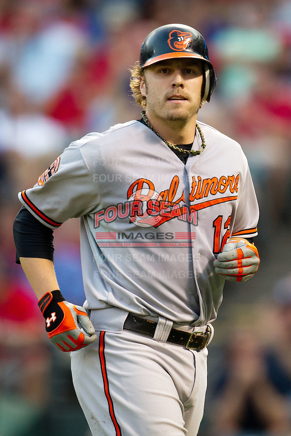 Baltimore Orioles first baseman Mark Reynolds #12 during the Major League Baseball game against the Texas Rangers on August 21st, 2012 at the Rangers Ballpark in Arlington, Texas. The Orioles defeated the Rangers 5-3. (Andrew Woolley/Four Seam Images).