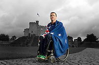 Wheelchair rugby star, Greg Smith will carry<br /> the flag for the Australian Team in London 2012<br /> Opening Ceremony. The announcement took place in<br /> Cardiff Castle, Wales. (Tuesday 21st Aug)<br /> Preview/Staging Camp Cardiff Wales<br /> Paralympics - Summer / London 2012<br /> London England 29 Aug - 9 Sept <br /> &copy; Sport the library/Jeff Crow