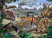Interlitho, Lorenzo, REALISTIC ANIMALS, paintings, dinosaur(KL4336,#A#) realistische Tiere, realista, illustrations, pinturas ,puzzles