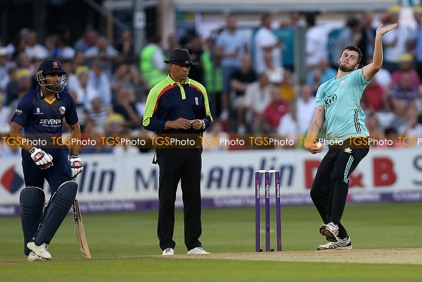 Dominic Sibley in bowling action for Surrey during Essex Eagles vs Surrey, NatWest T20 Blast Cricket at The Cloudfm County Ground on 7th July 2017