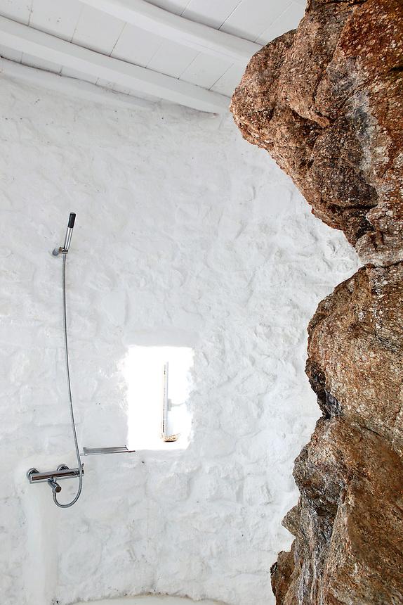 cycladic cave bathroom