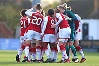 Arsenal players huddle during Arsenal Women vs Sunderland AFC Ladies, FA Women's Super League FA WSL1 Football at Meadow Park on 12th November 2017