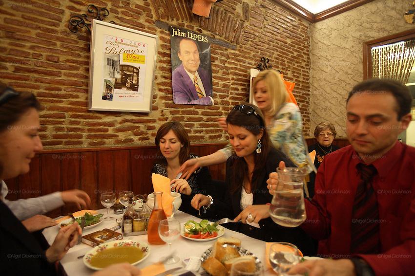 RESTAURANTS, Cote d'Azur. France. Chez Palymre, Vieux Nice. 5 rue  Droite.Anne Marie in Palmyre's restaurant