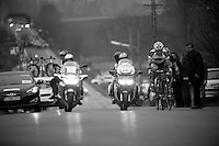 3 Days of West-Flanders, .day 2: Brugge-Kortrijk/Bellegem.leaders trying to keep in front of chasing peloton.