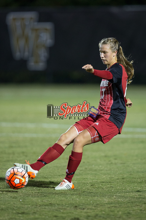 Inger Katrine Bjerke (17) of the Louisville Cardinals controls the ball during first half action against the Wake Forest Demon Deacons at Spry Soccer Stadium on October 31, 2015 in Winston-Salem, North Carolina.  The Demon Deacons defeated the Cardinals 2-1.  (Brian Westerholt/Sports On Film)