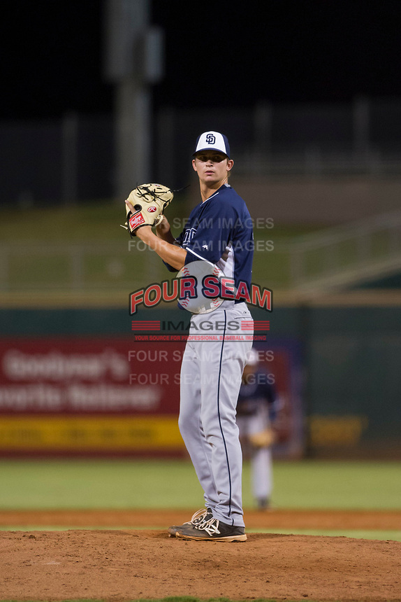 AZL Padres relief pitcher Chandler Newman (18) prepares to deliver a pitch to the plate against the AZL Indians on August 30, 2017 at Goodyear Ball Park in Goodyear, Arizona. AZL Padres defeated the AZL Indians 7-6. (Zachary Lucy/Four Seam Images)