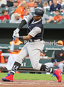 New York Yankees center fielder Aaron Hicks (31) swings at a pitch in the first inning against the Baltimore Orioles at Oriole Park at Camden Yards in Baltimore, MD on Saturday, August 25, 2018. This is the regularly scheduled game for today. <br /> Credit: Ron Sachs / CNP<br /> (RESTRICTION: NO New York or New Jersey Newspapers or newspapers within a 75 mile radius of New York City)