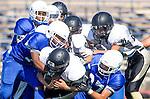Culver City, CA 09/12/13 - Nick Orlando (Peninsula #27) and unidentified Culver City player(s) in action during the Peninsula vs Culver City Junior Varsity game at Culver City High School.