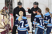 Corinne Boyles (BC - 29), Meagan Mangene (BC - 24), Chris Aughe, Jennifer More (Maine - 17), Bill Doiron, Kelly McDonald (Maine - 14), Brittney Huneke (Maine - 6) - The Boston College Eagles defeated the visiting University of Maine Black Bears 5 to 1 on Sunday, October 6, 2013, in their Hockey East season opener at Kelley Rink in Conte Forum in Chestnut Hill, Massachusetts.