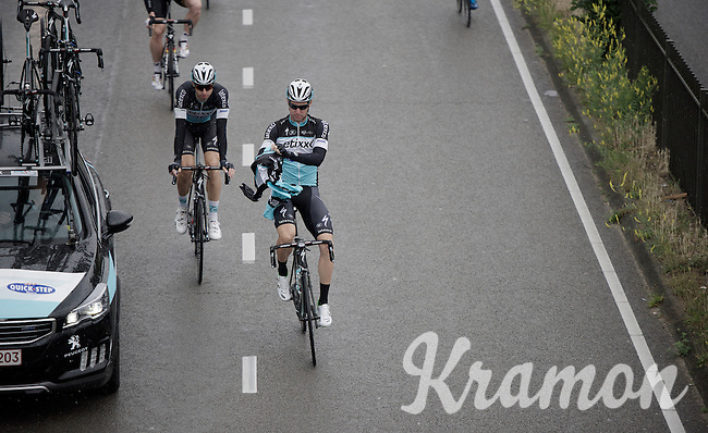 Straight from the off rain started coming down and rain jackets were fetched from the team cars; a ritual that would be ongoing for the rest of the stage.<br /> Fabio Sabatini (ITA/Etixx-Quickstep) getting started.<br /> <br /> stage 5: Eindhoven - Boxtel (183km)<br /> 29th Ster ZLM Tour 2015