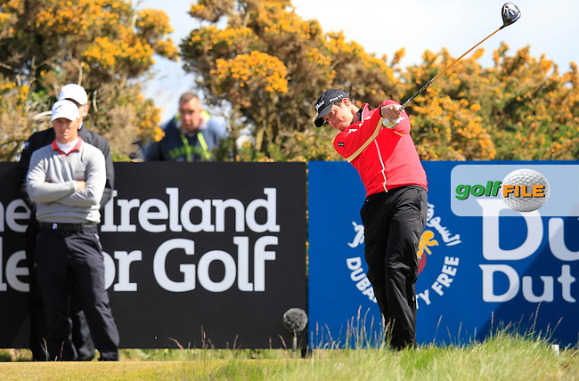 Simon THORNTON (IRL) tees off the 18th tee during Friday's Round 2 of the 2015 Dubai Duty Free Irish Open, Royal County Down Golf Club, Newcastle Co Down, Northern Ireland 5/29/2015<br />  Picture Eoin Clarke, www.golffile.ie
