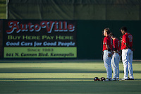 (L-R) Alex Call (2), Tyler Sullivan (5), and Micker Aldofo (37) stand for the National Anthem prior to the game against the Lakewood BlueClaws at Kannapolis Intimidators Stadium on August 11, 2016 in Kannapolis, North Carolina.  The Intimidators defeated the BlueClaws 3-1.  (Brian Westerholt/Four Seam Images)
