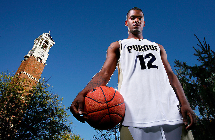 Purdue University basketball player Tarrance Crump at the Purdue University bell tower in West Lafayette on Tuesday, October 09, 2007.
