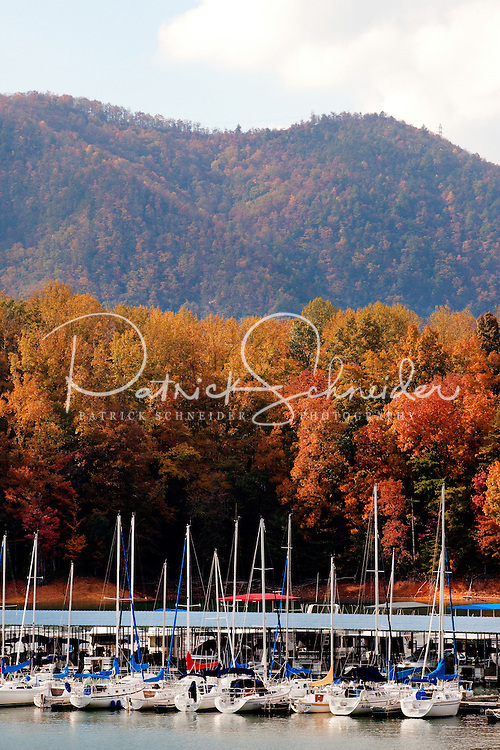 Against a colorful autumn backdrop that resembles a bowl of fruit loops cereal, rows of sailboats rest anchored at Lakeshore Resort and Marina on Watauga Lake in Northeastern Tennessee.