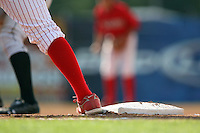 July 14th 2008:  First baseman wearing Nike cleats during a game at Dwyer Stadium in Batavia, NY.  Photo by:  Mike Janes/Four Seam Images