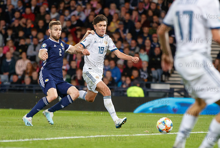 06.09.2019 Scotland v Russia, European Championship 2020 qualifying round, Hampden Park:<br /> Stephen O'Donnell fails to close down Yuri Zhirkov for Russia's second goal