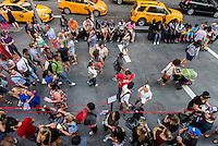 New York,, NY 29 August 2015 Tourists on Seventh Avenue in Times Square. New York City Mayor Bill de Blasio has designated a Task Force and says he may consider eliminating the pedestrian mall and returning the streets to traffic.
