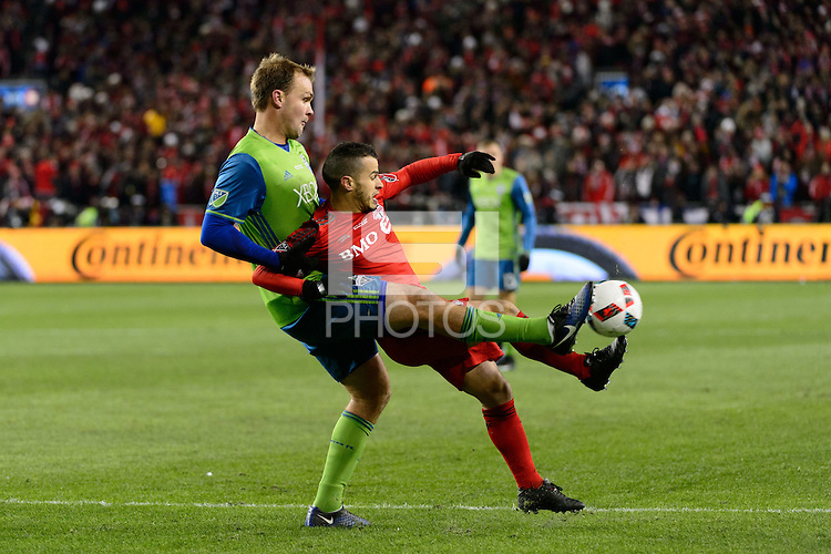Toronto, ON, Canada - Saturday Dec. 10, 2016: Chad Marshall, Sebastian Giovinco during the MLS Cup finals at BMO Field. The Seattle Sounders FC defeated Toronto FC on penalty kicks after playing a scoreless game.