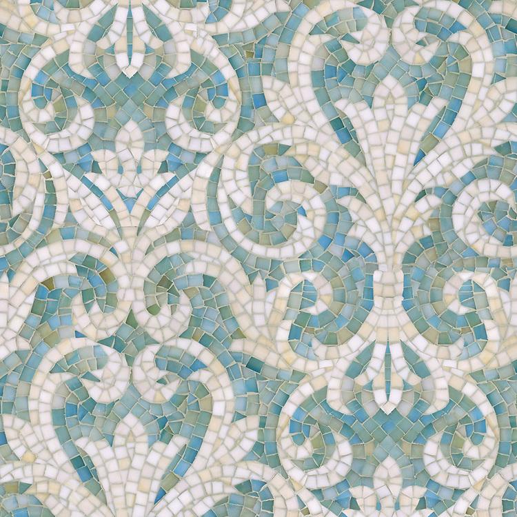 Serena, a hand-cut jewel glass mosaic, shown in Aquamarine and Quartz.