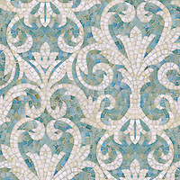 Serena, a hand-cut jewel glass mosaic, shown in Aquamarine and Quartz.