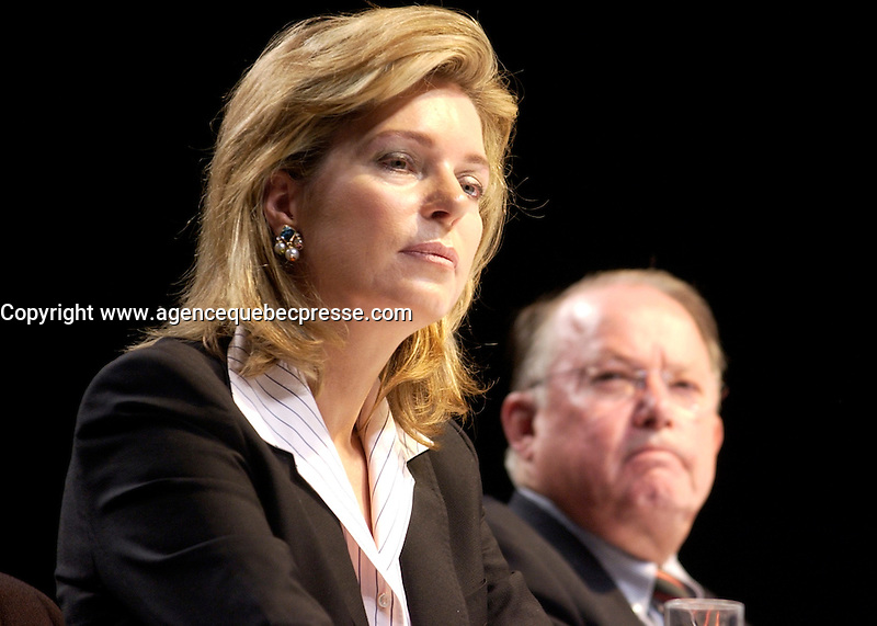 Sept 23 . 2002, Montreal, Quebec, Canada; <br /> <br /> Her Majesty Queen Noor of Jordan, Mentor Foundation (L) and<br /> Bernard Landry, Quebec Premier (R)<br /> sit at the head table at  the opening of the World Forum on Drug and Dependancy, September 23rd 2002 in Montreal, Canada<br /> <br /> <br />  Sept 09 2002, in Montreal, Canada,<br /> <br /> <br /> <br /> <br /> <br /> <br /> <br /> (Mandatory Credit: Photo by Sevy - Images Distribution (&copy;) Copyright 2002 by Sevy<br /> <br /> NOTE :  D-1 H original JPEG, saved as Adobe 1998 RGB.<br />  Uncompressed and uncropped original  size file available on request.