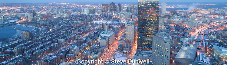 Winter evening view, downtown Boston, from Prudential